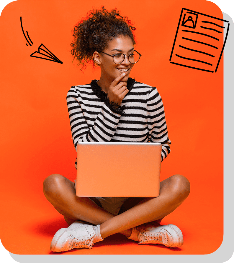 Student on a laptop and thinking about a student job